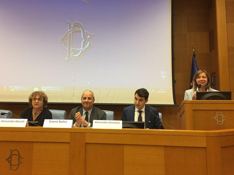 Da sinistra: Alessandra Morelli, delegata dell'UNHCR; Gianni Rufini, direttore di Amnesty International Italia; Alessandro Dimaiuta, Direttore Esecutivo di CWMUN; e Stefania Paradisi, Training Manager di Diplomatici