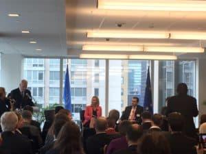 L'Alto Rappresentante della UE, Federica Mogherini, presenta il nuovo piano per affrontare la crisi dei migranti.